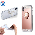 For Iphone X Ten 10 Luxury Mirror Diamond Bling Soft TPU Case with Kickstand