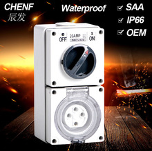 10AMP 250v 4pole Germany standard female combination industrial combination French switched socket box with SAA certification
