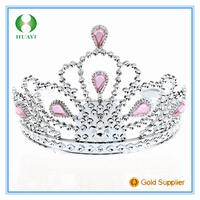 2016 New Arrival Cheap Wholesale Flower Girl Tiara With 6 Beautiful Pink Diamonds Party Girl Decoration Supplies
