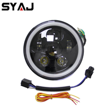 Car head lamp 7 inch led projector headlight 4x4 LED angel eye headlight for Land Rover Defender 90