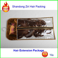 Cellophane hair extension bags with hangers with logo