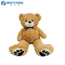 custom made brown large teddy bear soft plush toys with embossed bear paw print on both feet
