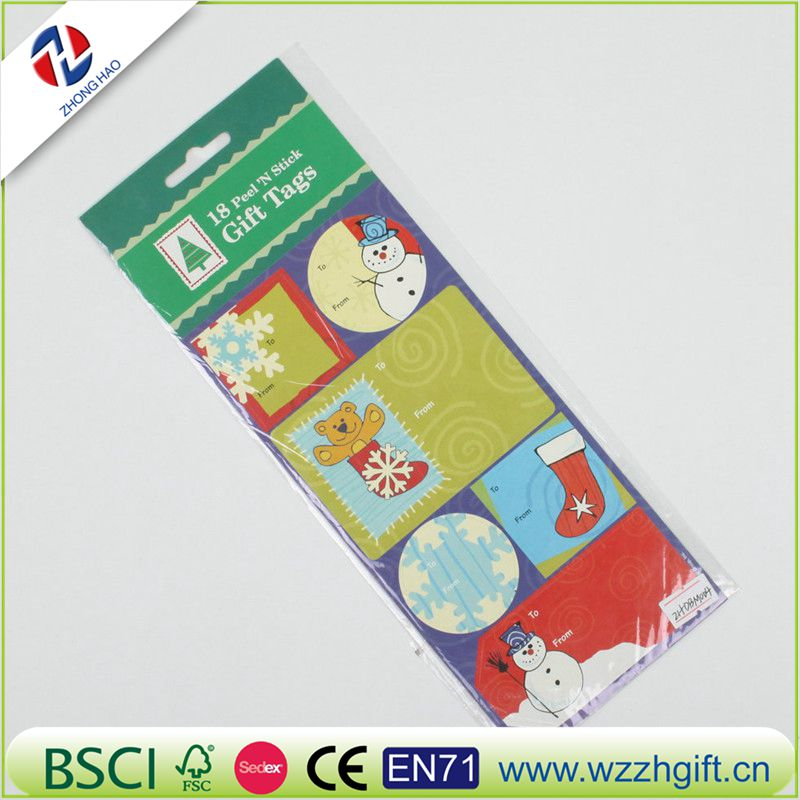 Kids Popular Christmas Gift Tags Adhesive Stickers
