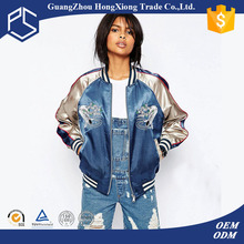 Guangzhou Hongxiong OEM Design Your Own Warm Zipper Front Side Pockets Sublimation Blue Nylon Women Custom Silk Bomber Jackets