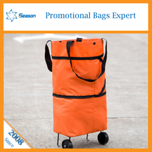 High Quality 600D Polyester Foldable shopping trolly bag with wheels