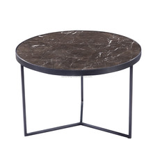 Simple design metal base table small round corner table brown marble tea table