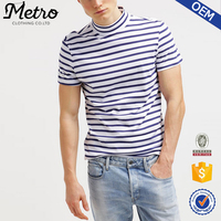 High quality blue and white stripe tee short sleeve cotton t-shirt