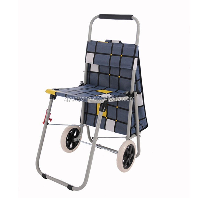 YY-34XB07 shopping trolley with seat shopping trolley seat folding shopping cart with seat