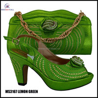 MS3167 GREEN elegant design Beautiful high heel shoe matching bag big size party women dress shoe