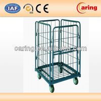 Steel Wire Foldable Rolling Trolley Tool Cart for Warehouse Logistic Workshop