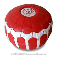 Moroccan pouffe, large pouffe , handcraft best leather, red and white
