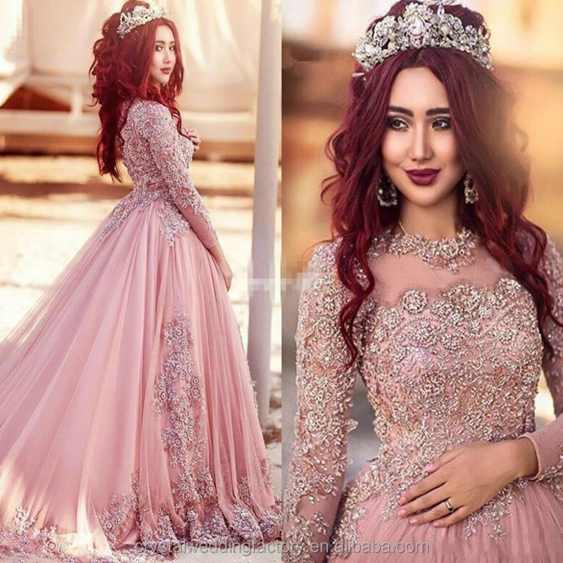 Vestido De Noiva Appliques Beading Ball Gown Elegant Lace Long Sleeve New Arrival Pink Muslim Wedding Dress WW1413