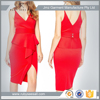 deep v neck sexy wedding bridesmaid dresses front wrapped fitted tight red dress