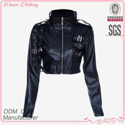 Cool faxu leather design long sleeve black jacket motorcycle for ladies