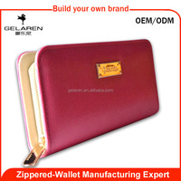 hot pink solid color wholesale brand wallet purse with variety gadgets' compartment for women factory price purse