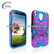 2 in 1 Flower Butterfly PC+Silicone Combo Case for Samsung Galaxy S4 i9500
