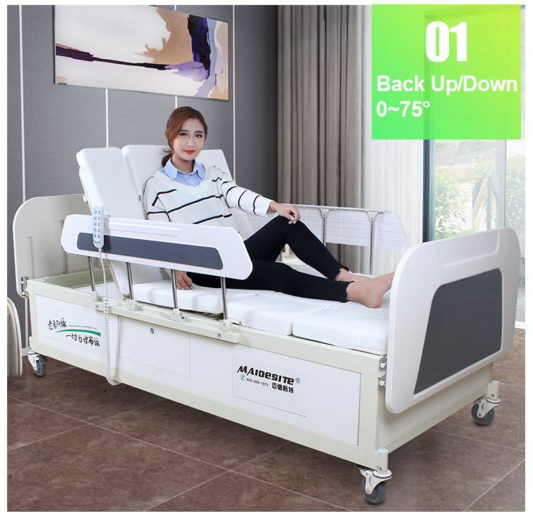 Y02 Electric hospital medical bed with patient lifting rack (4).jpg
