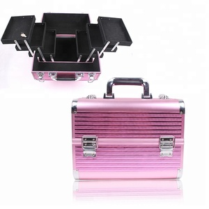 Portable rose red stripes custom logo beauty industry cosmetic make up professional case