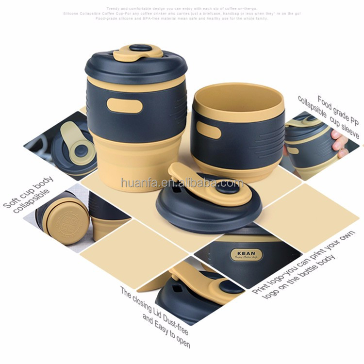 2016 New Design wholesale silicone coffee cup folding bpa free 12oz Collapsible Silicone Coffee Cup