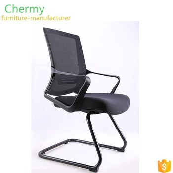 Low price arch frame visiting steel base desk black mesh office guest chairs
