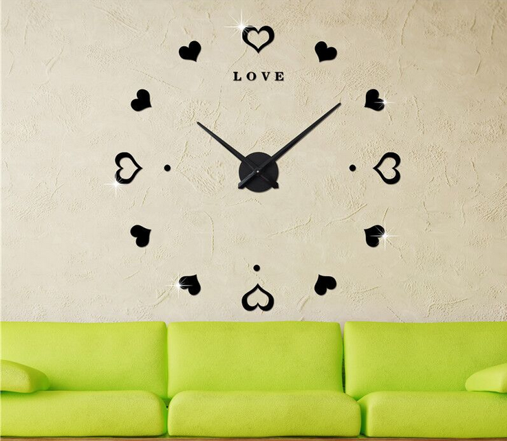 Wholesale creative Adhesive Modern 3D Frameless Large DIY Wall Clock