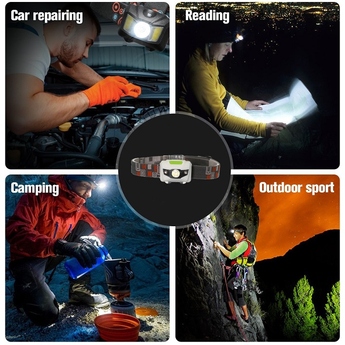 Wholesales Hot Selling LED Torch Light, LED Camping Light, LED Headlamps With Red Emergency LEDs
