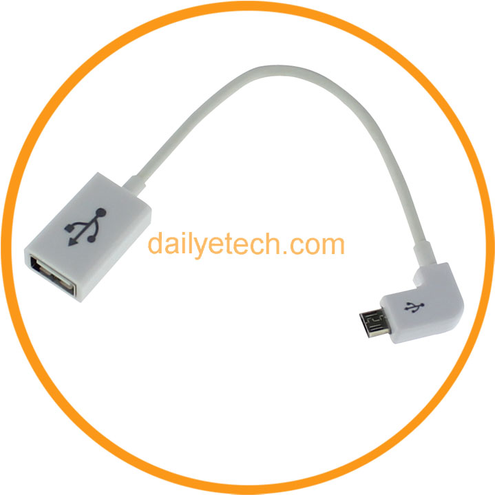 Right Angle Micro USB to USB Female Host OTG Adapter Cable for Samsung Galaxy S5 S4 S3 S2 Note 2 from Dailyetech