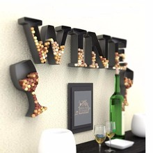 New Bar organizer accessories black metal letter W wall wine cork holder