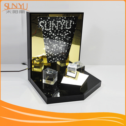 acrylic lipstick holder with poster board, manufacturing black acrylic stand lighting cosmetic display with LED