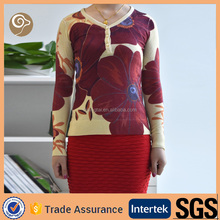 Women printing handmade knit wool sweater designs
