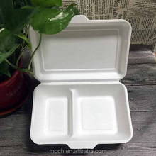 Disposable paper pulp bagasse food container 2 compartment clamshell