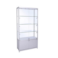 Customized free standing glass tower showcase display cabinet, glass cabinets display showcase