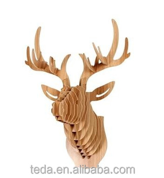 Deer Elk Stag Head Antler 3D Puzzle DIY Wood Jigsaw Animal Model Wall Mount Deco
