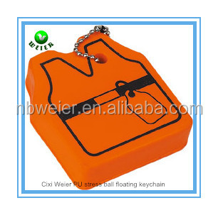7.2x6.2x2cm customized PU vest floating keyring/promotional gift PU foam vest floating keyring/kids toys soft PU vest key ring