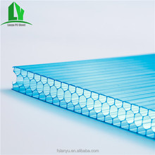 Tinted thickness 20mm recycled Honeycomb PC twin wall hollow price lexan polycarbonate sheet