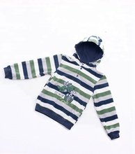Hot fashion wild striped embroidery fresh cute <strong>children</strong> 4/1 button <strong>hoodie</strong>
