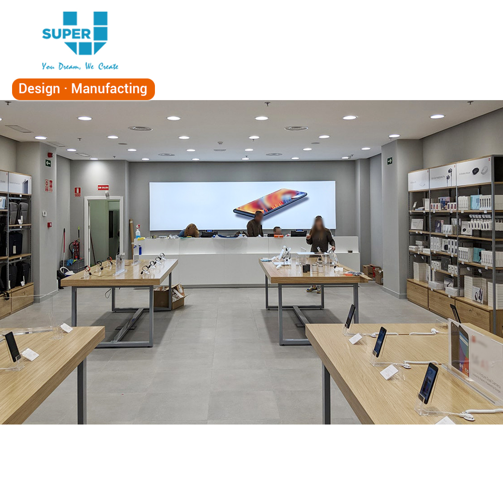 Tailored modern shop decoration cell phone retail store exhibition furniture mobile phone store interior design