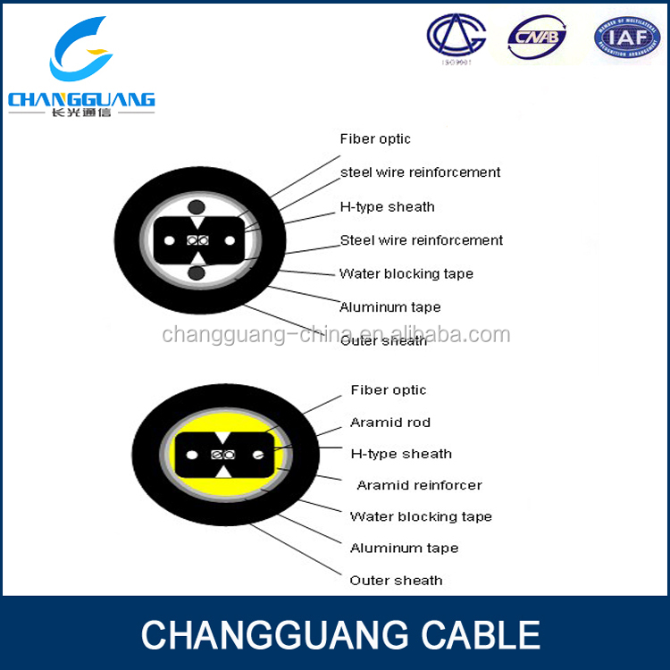 Low smoke,zero halogen sheath FTTH indoor 2 core fiber optic cable