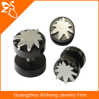 Black Plated Fake Ear Plug 316L Stainless Steel Fake Ear Gauge Ear Stretcher with maple leaf