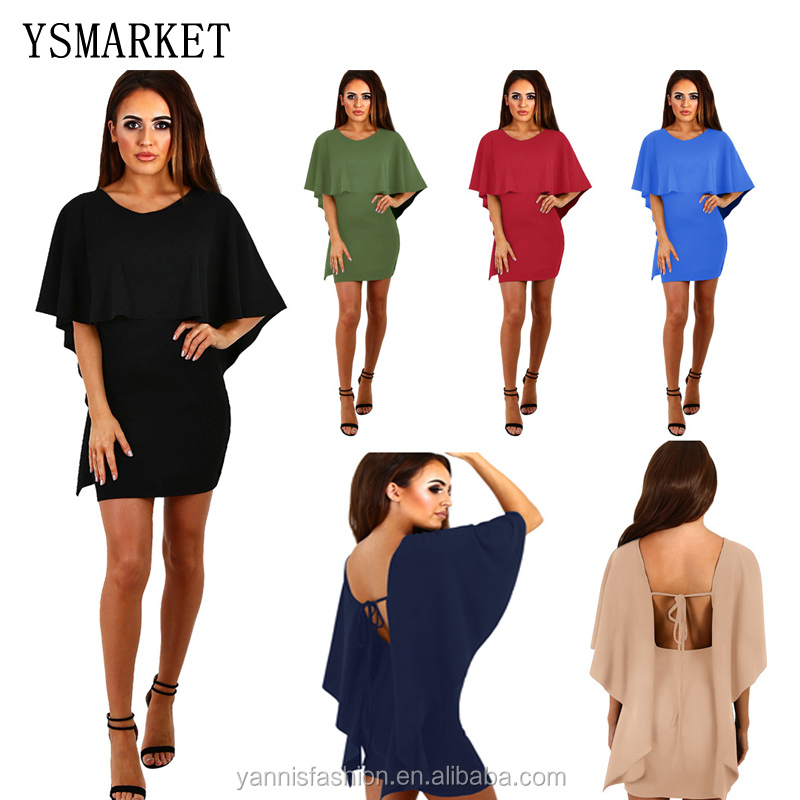 Summer New Women Sexy <strong>O</strong>-Neck Lace Up Dress Night Club Wear Backless Cape Cloak Sleeve Mini Dresses E6251 <strong>27</strong>