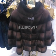 Wholesale women cross striation pattern pelt mink fur winter jacket with 3/4 sleeves