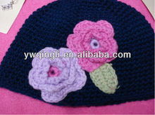 Lovely Black Knitting Wool Baby/Children Hat with Flower baby handmade Crochet hats