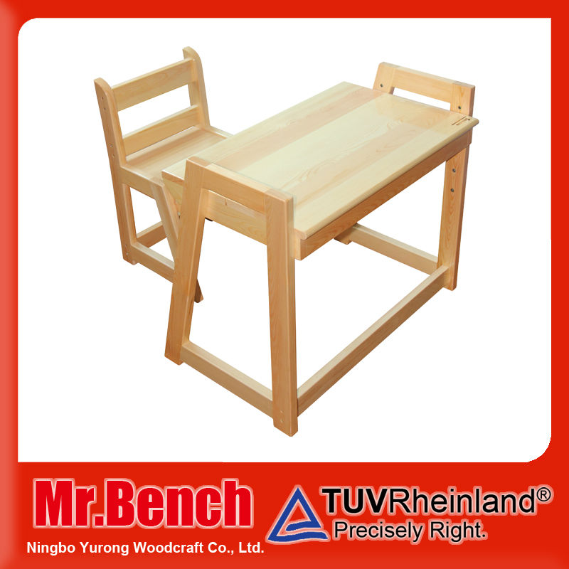 wood modern adjustable height children desk and chair