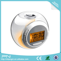 7 Color Changing Light bird sound alarm clock, transparent lcd clock