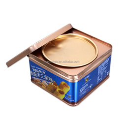egg roll metal Tin Box Square With double Lid for packaging