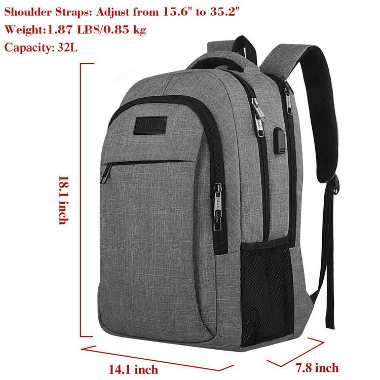 Custom logo new design canvas laptop backpack waterproof with USB charging port