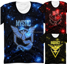 walson hot sale mens apprael pokemon go T shirt galaxy print team Valor Mystic Instinct men's t shirt