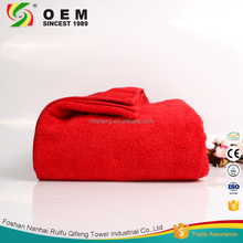 Red color jacquard plain organic cotton towel