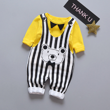 New release bear design baby boy overall clothe set with bow <strong>tie</strong>