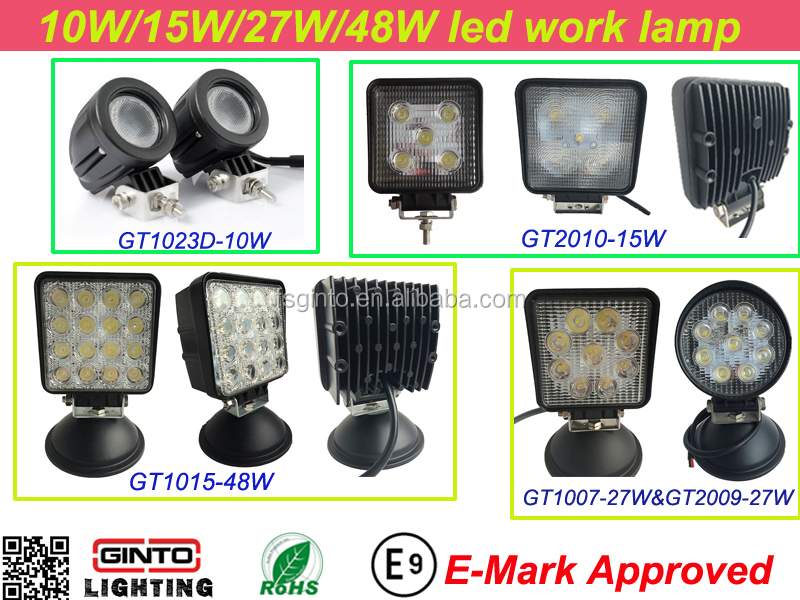Waterproof 10V-30V 10w/15w/27w/48w offroad led work lights with E-mark ECE R10 approved